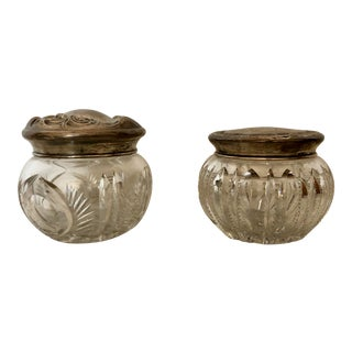 Vintage Sterling Silver Cut Glass Powder Jars - a Pair For Sale