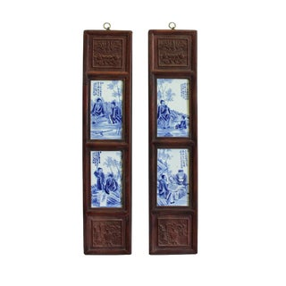 Chinese Vintage Pair Blue White Porcelain Wood Wall Panels Art For Sale