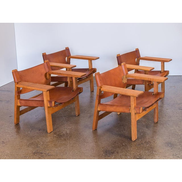 Price is for a pair. We have a very rare suite of four Borge Mogensen's iconic Spanish Chairs for Fredericia Stolefabrik....