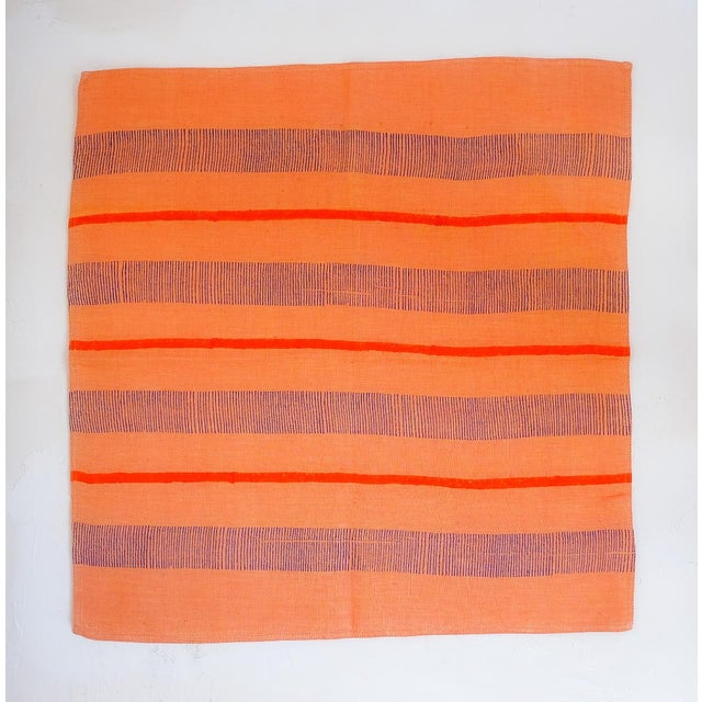 Contemporary Indu Handwoven & Block-Printed Terracotta Table Napkins - Set of 4 For Sale - Image 3 of 7