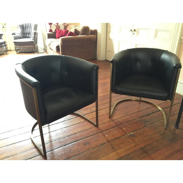 Lee Industries Black Modern Chairs - A Pair - Image 2 of 3