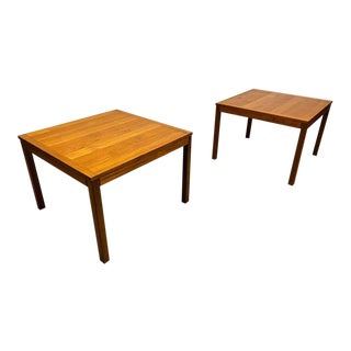 Mid Century Danish Modern Teak Parsons Style End Tables by Vejle Stole of Denmark - a Pair For Sale