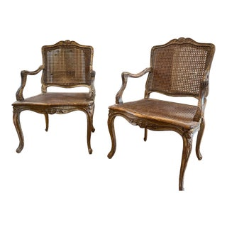18th Century Louis XV Fauteuil Arm Chairs With Cane Seats and Backs - a Pair For Sale