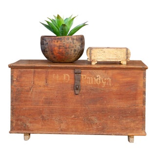 Handsome Golden Teak Colonial Trunk For Sale