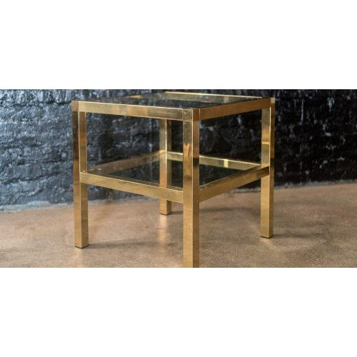 Mastercraft Mastercraft Two Tiered Brass Side Table For Sale - Image 4 of 8