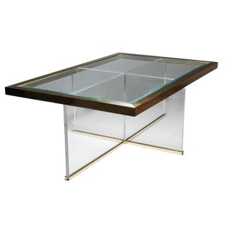 Lucite and Brass Coffee Table Style of Charles Hollis Jones For Sale