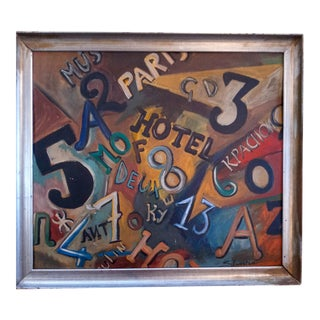 Mid 20th Century Text and Numbers Oil Painting, Framed For Sale