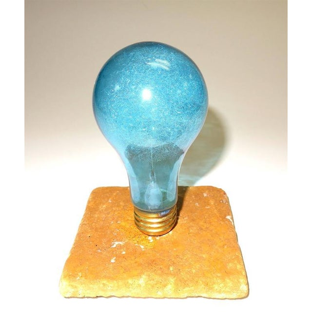 Archaic & Rare GE Photoflash Bulb With Daylight Color. Display As Sculpture. Circa 1940's. Mounted On Stone. For Sale - Image 4 of 4