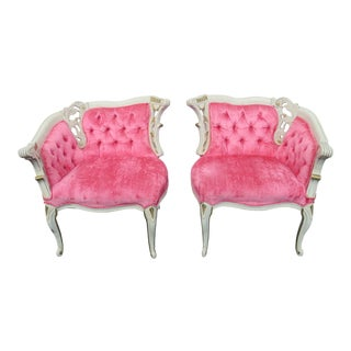 French Carved Side Living Bed Room Fireplace Chairs - a Pair For Sale
