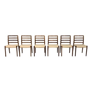 1990s Vintage Niels J Moller Model 85 Brazilian Rosewood Danish Dining Chairs- Set of 6 For Sale