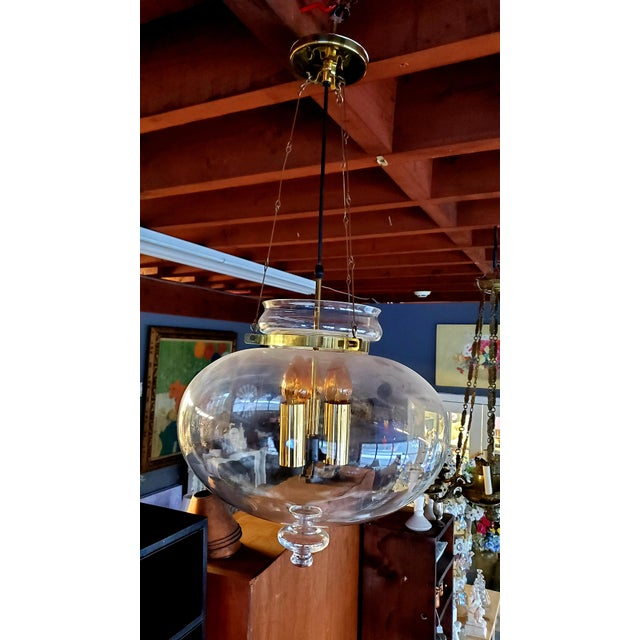 1960s 1960s Vintage Glass Globe Hanging Light Fixture For Sale - Image 5 of 13