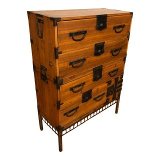 Meiji Period Two Piece Tansu Chest With Custom Made Stand For Sale