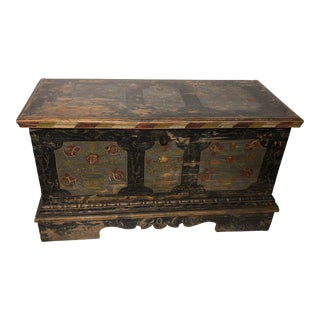 Antique Painted Dower Trunk For Sale
