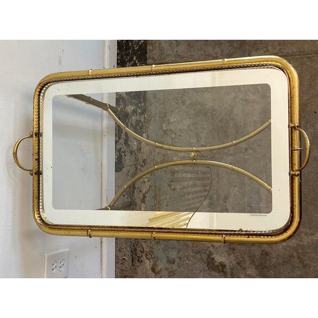 Brass Vintage Brass Mirror Framed Glass Side Table For Sale - Image 8 of 10