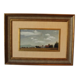 1960s Vintage Framed Mountain Landscape Painting For Sale