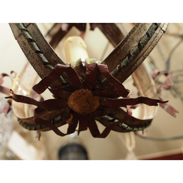 Neoclassical Small Italian Tole Chandelier For Sale - Image 3 of 7