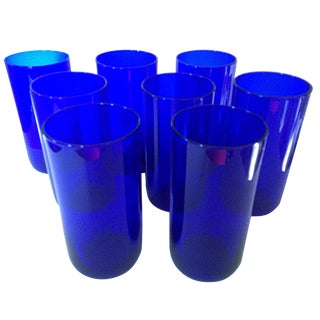 Cobalt Blue Tall Glasses - Set of 8