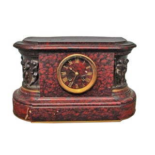 Late 19th Century Vintage Barbedienne French Renaissance Style Marble Clock For Sale