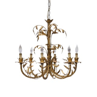 French GIlt Bamboo Chandelier With Leaf Motif