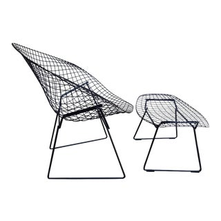 Mid-Century Harry Bertoia Diamond Chair and Ottoman for Knoll