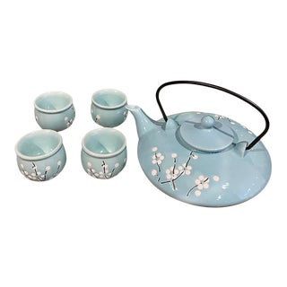 Asian Style Tea Set With Blossom - Set of 5 For Sale