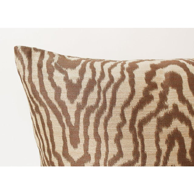 Abstract Sateen Faux Bois Tiger Pillows, a Pair For Sale - Image 3 of 6