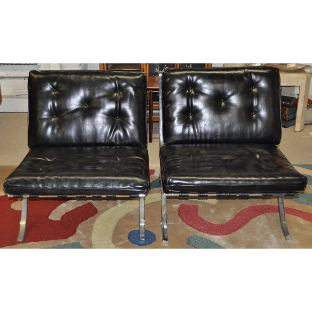Barcelona Style Chrome & Leather Chairs - Pair - Image 2 of 8