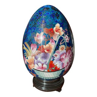 1970s Blue and Pink Japanese Cloisonne Egg For Sale