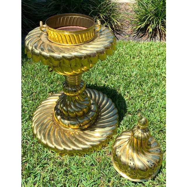 Large Turkish Spiral Brass Brazier For Sale - Image 4 of 12