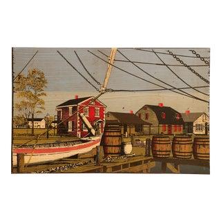New England Harbor Scene Wood Panel Screen Print For Sale