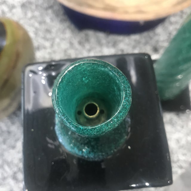 Green 1970s Murano Lamp Bases - a Pair For Sale - Image 8 of 12