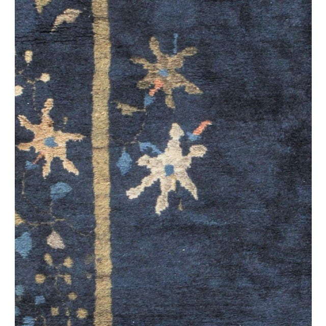 Art Deco Vintage Chinese Navy Rug Circa 1920 4' X 6'7 For Sale - Image 4 of 6