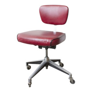 1960s Cast Aluminum Steno Desk Chair Refinished in Red Leather