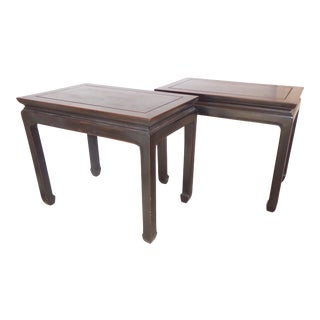 Vintage Chinese Ebonized Hardwood End Tables - a Pair For Sale