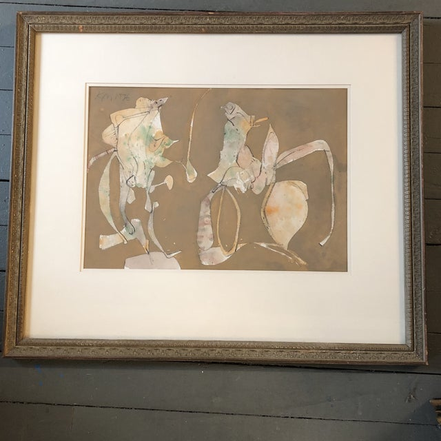 Original Mid Century Abstract Keith Martin Pastel Drawing For Sale - Image 9 of 9