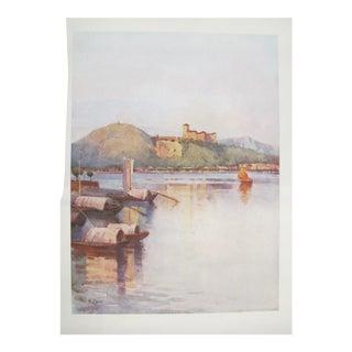 1905 Original Italian Print - Italian Travel Colour Plate - Angera, Lago Maggiore For Sale
