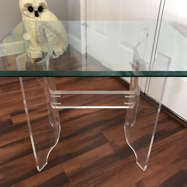 Mid-Century Lucite & Glass End Table - Image 6 of 6