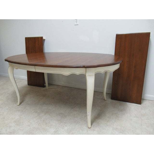 French French Country Ethan Allen Dining Room Banquet Table For Sale - Image 3 of 12