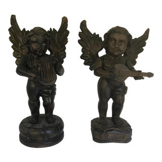 20'th Cnetury Mexico Carved Wood Glass Eyed Angles Cupids Playing Music a Pair For Sale