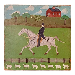 Circa 1900s 'Country Gentleman' Folk Art Painting on Wood Panel For Sale