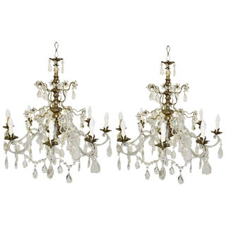 Silvered Brass Chandeliers (2 Available) For Sale
