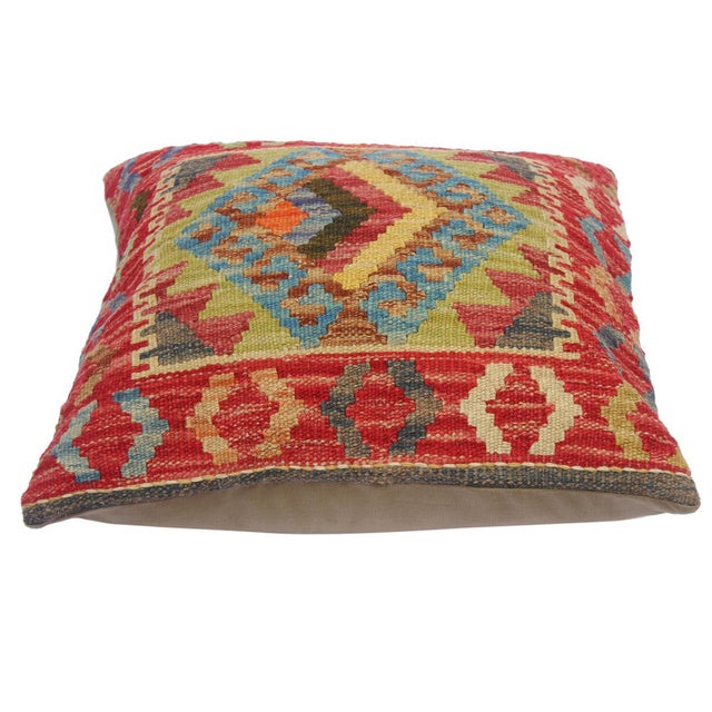 """Clelia Orange/Lt. Blue Hand-Woven Kilim Throw Pillow(18""""x18"""") For Sale - Image 4 of 6"""