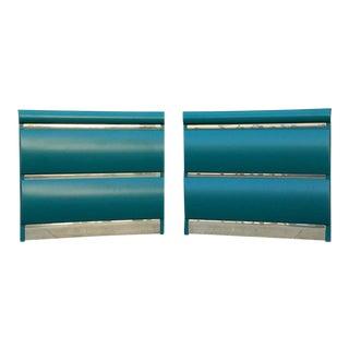 Pair of 1970's Vintage Teal Green Brass Nightstands