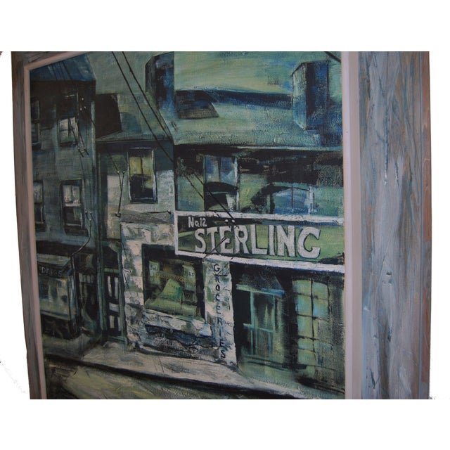 1960s Blue-Tone Oil Painting For Sale In Baltimore - Image 6 of 9