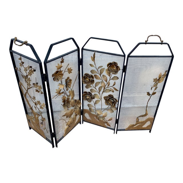 Victorian Floral Fireplace Screen For Sale