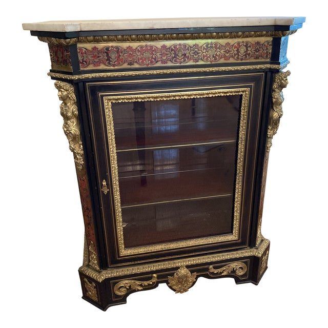 French Boulle Style Display Cabinet For Sale