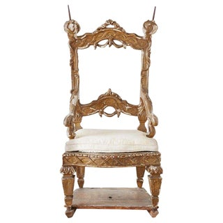 18th Century Venetian Neoclassical Parade Chair or Kings Chair For Sale
