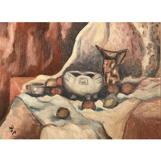 Vintage Mid-Century Still Life Oil on Board Painting For Sale
