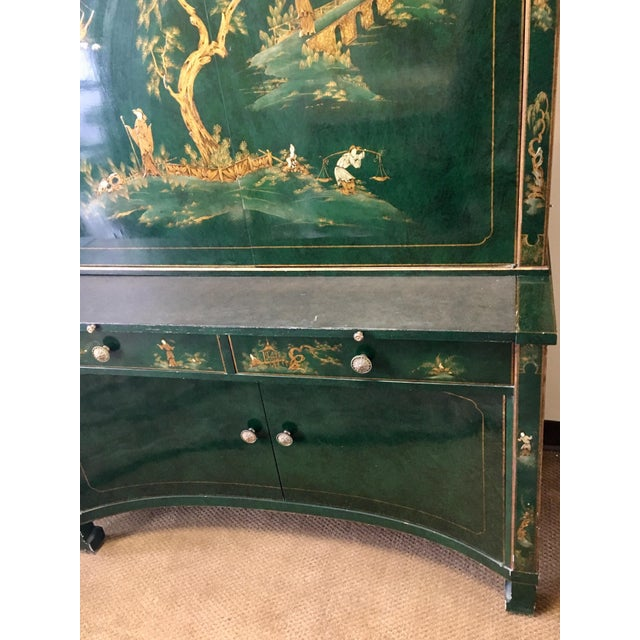 Emerald Green Lacquer Asian Chinoiserie Secretary Desk China Cabinet Armoire For Sale - Image 10 of 13