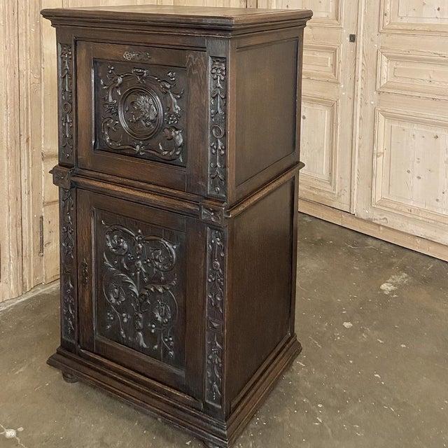 Antique Renaissance Oak Drop-Front Cabinet For Sale - Image 11 of 12